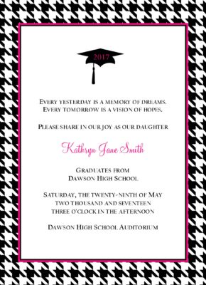 Simple Honors Houndstooth Graduation Announcement