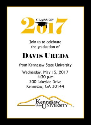Simply Stated (Black/Gold) Graduation Announcement