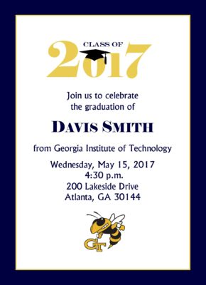 Simply Stated (Navy/Gold) Graduation Announcement