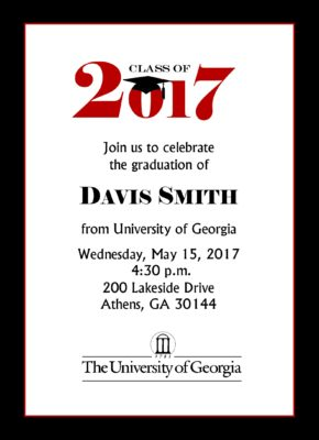 Simply Stated (Red/Navy) Graduation Announcement