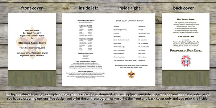 Product categories eagle scout court of honor programs for Eagle scout court of honor program template