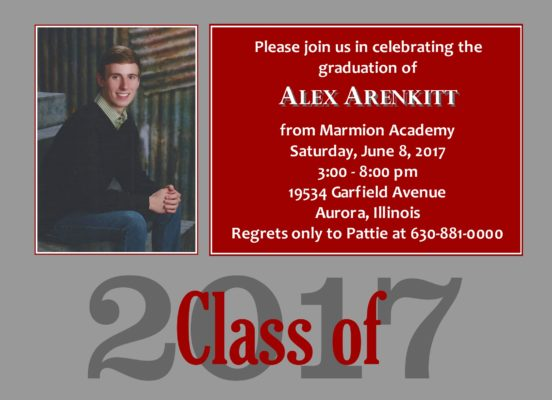 Traditional Blocks (Silver/Red) Graduation Announcement