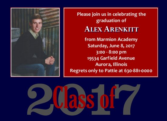 Traditional Blocks (Navy/Red) Graduation Announcement