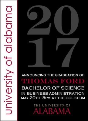 Traditions in Style (Black/Burgundy) Graduation Announcement
