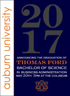 Traditions in Style (Navy/Orange) Graduation Announcement