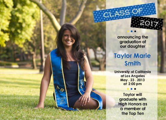 Trendy Grad (Blue/Black) Graduation Announcement