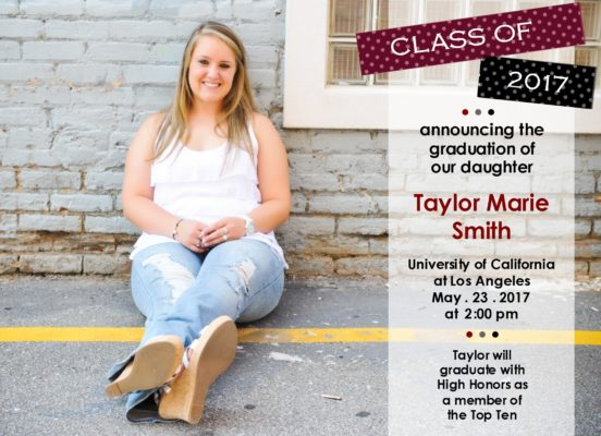 Trendy Grad (Burgundy/Black) Graduation Announcement