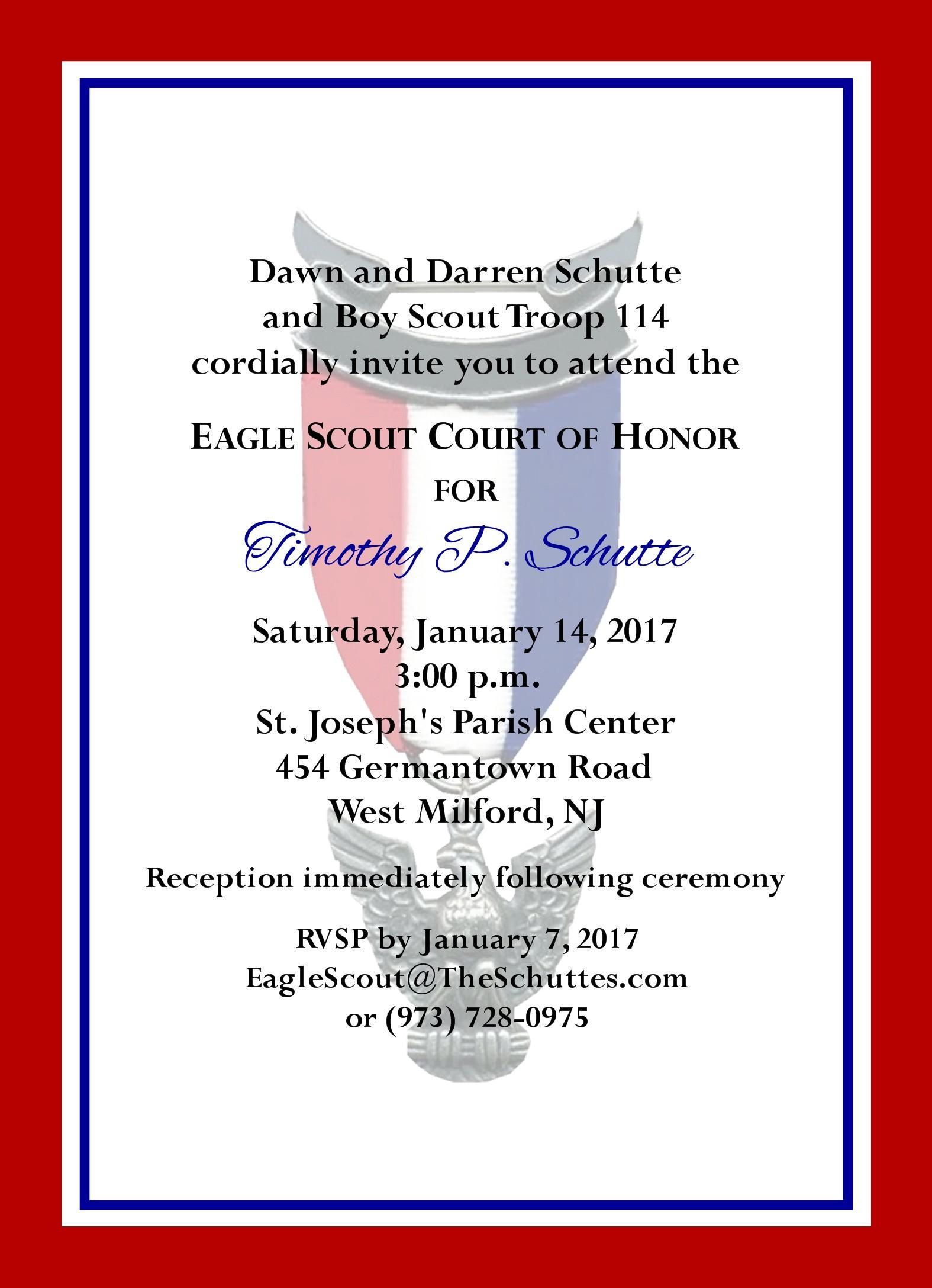 Simple Honors Border Eagle Scout Invitation